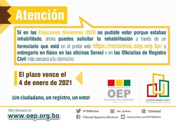Personas inhabilitadas en elecciones del 2020 podrán rehabilitarse hasta el 4 de enero