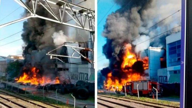 Impresionante incendio en la planta de la cervecería Quilmes en Buenos Aires
