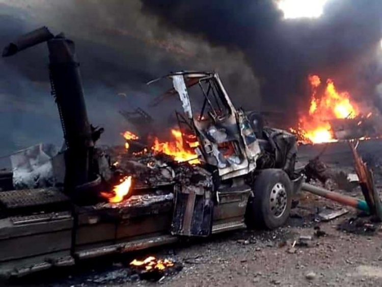 La explosión de un cisterna en la ruta Potosí – Villazón dejo al conductor fallecido
