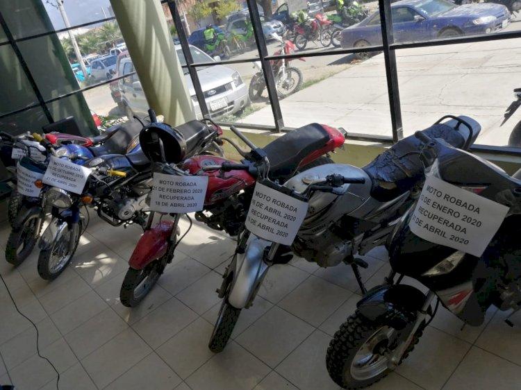 DIPROVE en Tarija recuperó seis motocicletas robadas